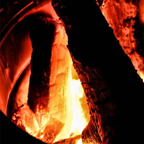 焚き火にあたりながらハンモック体験