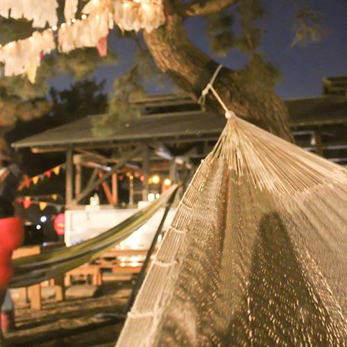 柳島キャンプ場でハンモック体験