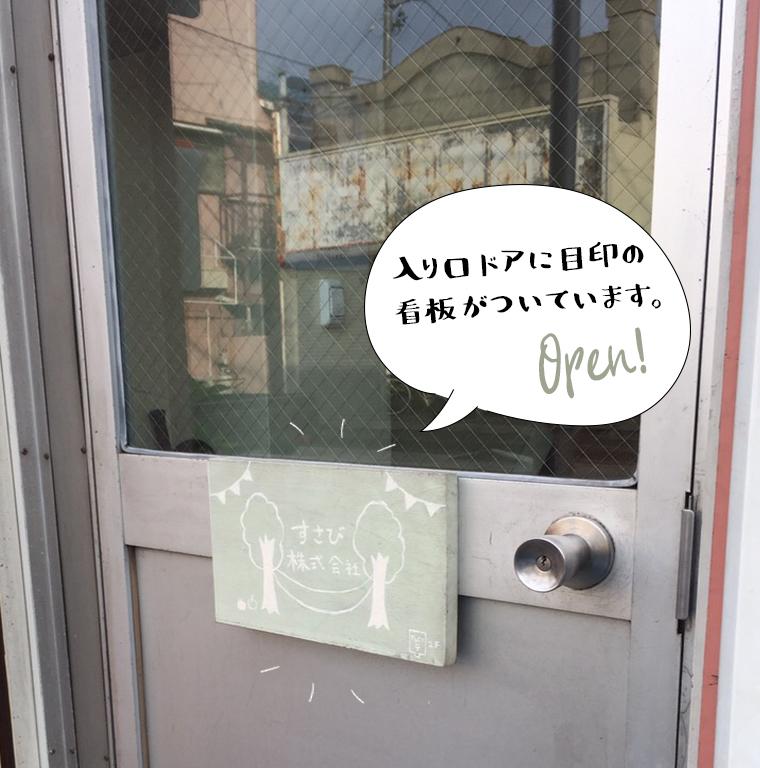 すさびの看板が付いたドアを開けてください